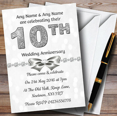 White Bokeh Silver Glitter 10Th Personalised Anniversary Party Invitations • 12.95£