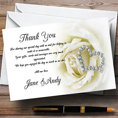 £6.95 • Buy Cream Ivory Rose Heart Personalised Wedding Thank You Cards