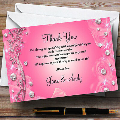 £6.95 • Buy Pretty Pink Diamond Personalised Wedding Thank You Cards