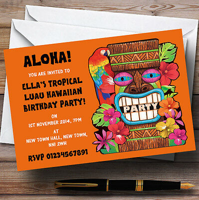 Orange Tropical Luau Hawaiian Personalised Party Invitations • 6.95£
