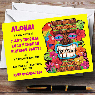 Yellow Tropical Luau Hawaiian Personalised Party Invitations • 17.95£