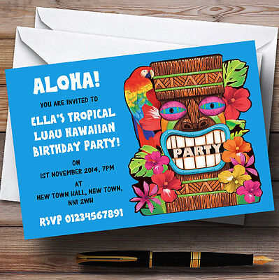 Blue Tropical Luau Hawaiian Personalised Party Invitations • 6.95£