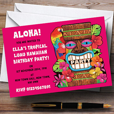 Pink Tropical Luau Hawaiian Personalised Party Invitations • 6.95£