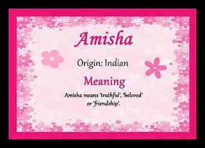$ CDN11.65 • Buy Amisha Personalised Name Meaning Placemat