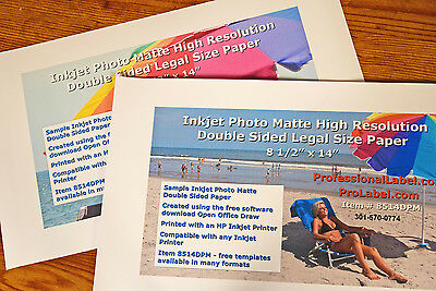 £20.53 • Buy 50 Sheets Double Sided Inkjet Photo Matte Paper 8.5 X 14 Legal Size #8514DPM
