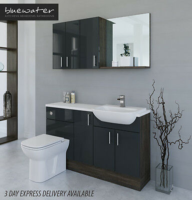 £895 • Buy Anthracite / Mali Wenge Bathroom Fitted Furniture 1400mm With Wall