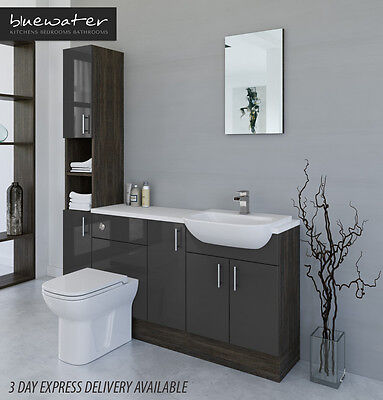 £835 • Buy Grey / Mali Wenge Bathroom Fitted Furniture 1700mm With Tall Unit
