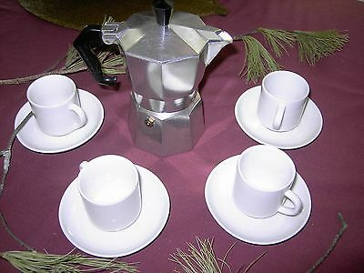 £17.90 • Buy Expresso Coffee Pot With 4 Cups And Saucers (Used)