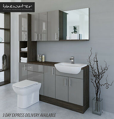 £1135 • Buy Latte / Mali Wenge Bathroom Fitted Furniture 1700mm & Wall & Tall Unit