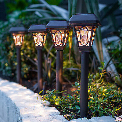 Set Of 4 Solar Powered Warm White LED Garden Lantern Stake Border Path Lights • 15.99£