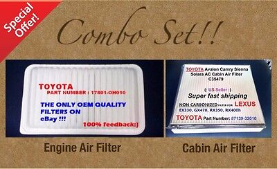 $12.45 • Buy  Engine Filter & Cabin Air Filter Combo Set For CAMRY SIENNA SOLARA OEM Quality