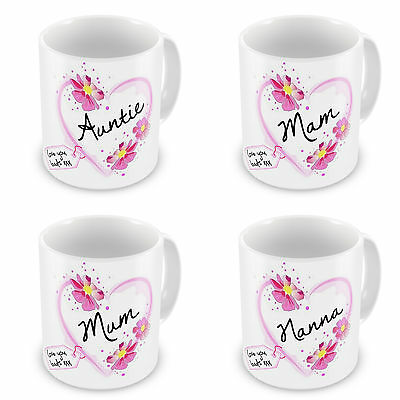 Auntie, Gran, Grandma, Grandmother, Granny... Heart With Tag Novelty Gift Mugs • 7.99£
