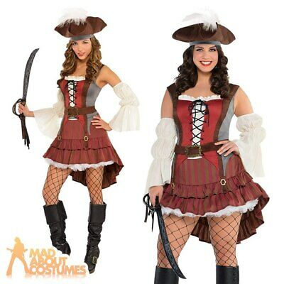 Adult Castaway Pirate Lady Costume Sexy Wench Fancy Dress + Hat Outfit New • 24.94£