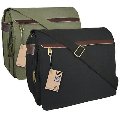 Canvas / Leather Messenger Satchel Mens Shoulder Bag Across Body School College • 15.99£