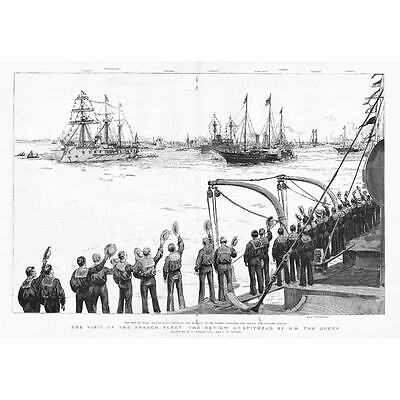 SPITHEAD Review Of The French Fleet By HM The Queen - Antique Print 1891 • 16.95£