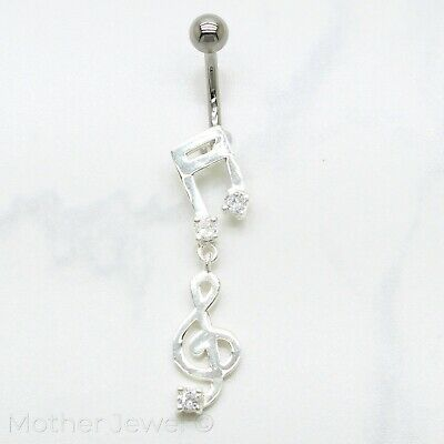 Real 925 Sterling Silver Musical Note Surgical Steel Navel Belly Curved Bar Ring • 10.32£