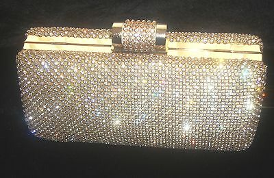 £25.99 • Buy Large Gold Diamond Diamante Crystal Stone Evening Bag Clutch Purse Party Prom
