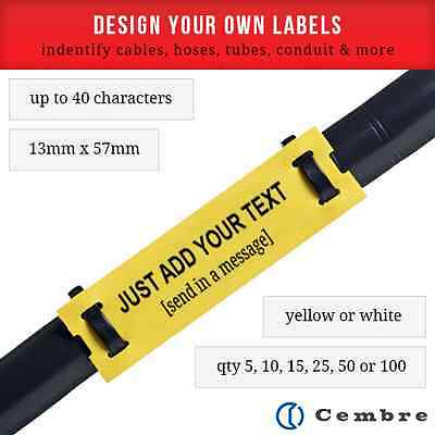 £1.04 • Buy CREATE YOUR OWN CABLE LABELS YELLOW / WHITE MARKERS WITH BLACK WRITING 13MMx57MM