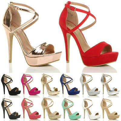 Womens Ladies Platform High Heel Peep Toe Cross Over Strappy Sandals Shoes Size • 19.99£