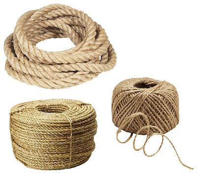Natural Jute Rope Strong Twisted Braided Decking Garden Boating Cord Sailing  • 1.49£
