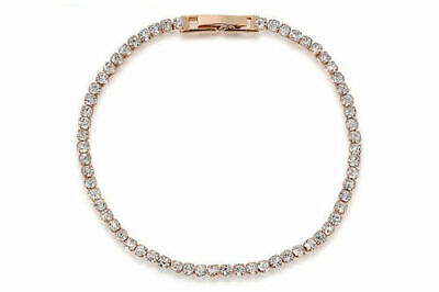 Rose Gold Plated White Made With Swarovski Crystals Tennis Chain Link Bracelet • 3.99£