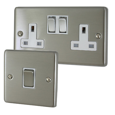 Brushed Steel Sockets And Switches With White Inserts • 18.99£