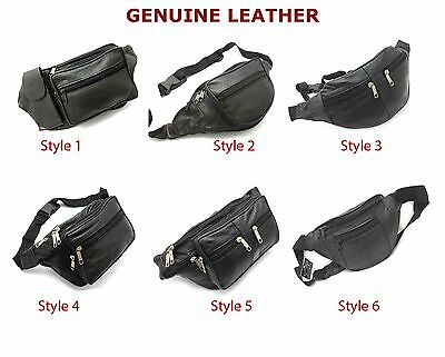 £4.95 • Buy Real Leather Bum Waist Bag Travel Holiday Money Belt Pouch Black Change Bumbag