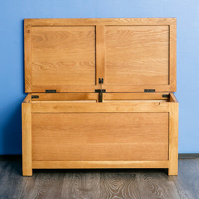 £169.95 • Buy Surrey Oak Wooden Blanket Box Solid Wood Ottoman Chest Bedding Rustic Toy Trunk