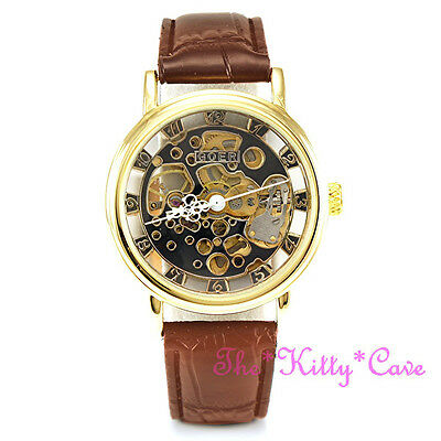 £32.99 • Buy Mechanical Skeleton Heritage Steampunk Gold & Brown Leather Wind-Up Unisex Watch