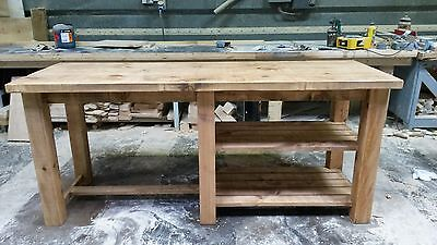 New Solid Wood Rustic Chunky Plank Breakfast Bar Kitchen Island Made To Measure • 689£