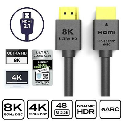 AU16.99 • Buy 1.5m HDMI 2.1 Cable Ultra HD 8K@60Hz 48Gbps 8K 4K UHD 3D Dynamic HDR Copper Wire