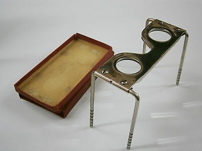 £141.53 • Buy VINTAGE STEREOVIEW METAL STEREOSCOPE VIEWER Magnifying Glass /w Case