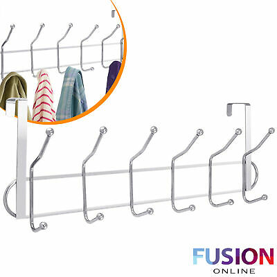 Over The Door Hooks Chrome Washroom Coat Hanger Clothes Towel Storage Rack 12 • 5.95£