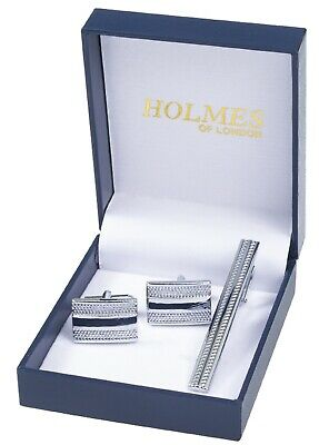 £4.99 • Buy Silver Shirt Cufflinks Tie Pin Clip Groom Wedding Favours Party Giftbox Uk Ct5