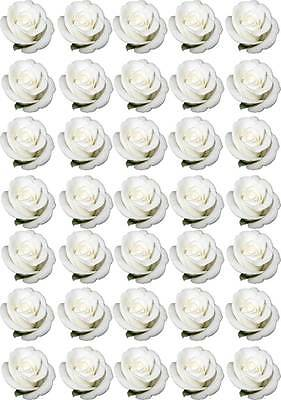 £3.94 • Buy 35 White ROSE Roses Flower Love Edible Cup Cake Fairy Toppers Wedding Wafer