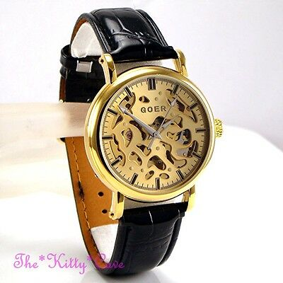 £34.99 • Buy Automatic Mechanical Skeleton Steampunk Gold Plated Cutwork Black Leather Watch