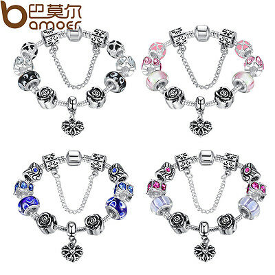 $3.60 • Buy European 925 Silver Bracelet With Heart Charm Murano Beads For Women DIY Jewelry