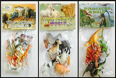 Plastic Jungle Zoo Figures Wild Farm Animals Dinosaurs Childrens Toys Party Bags • 4.99£