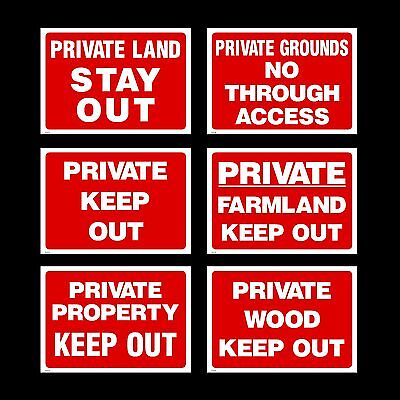Private Property / Wood / Grounds / Farmland - Plastic Sign / Sticker / Metal • 5.29£