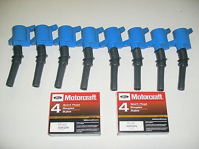 $95 • Buy 98-2011 Crown Vic Marquis Town C 8 Blue Coil Dg508 & 8 Motorcraft Plugs Sp493