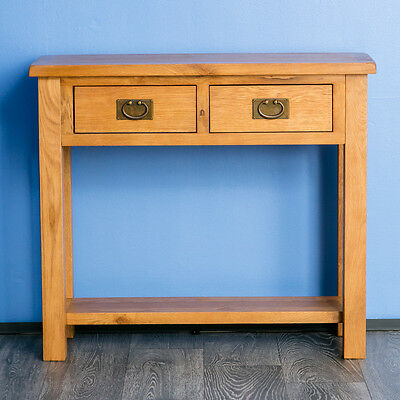 Surrey Oak Console Table Solid Wood Side Hall Telephone Table 2 Storage Drawers • 139.95£