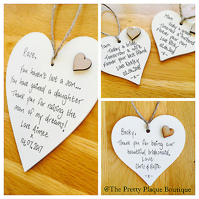 Personalised Wooden Heart Plaque Wedding Favours Any Words Any Colour 3 Sizes • 3.89£
