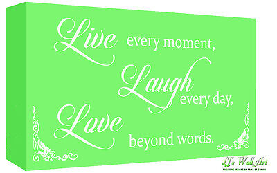 Green Live Laugh Love Quote Canvas Wall Art Print - A1, A2 + Sizes • 30.37£