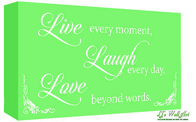 £11.49 • Buy Green Live Laugh Love Quote Canvas Wall Art Print Picture