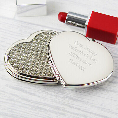 Personalised Engraved Compact Mirrors - Round, Oval, Handbag, Diamante Heart  • 8.99£