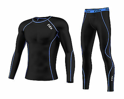FDX Mens Compression Armour Base Layer Top Skin Fit + Compression Leggings Set  • 24.25£