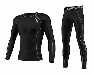 FDX Mens Compression Armour Base Layer Top Skin Fit + Compression Leggings Set  • 24.75£