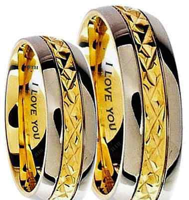 His And Hers 7mm Engraved I Love You Gold Tone Wedding Engagement Band Ring Set • 49.99£