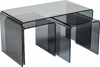 Curved Black Glass Coffee Nest Of Tables Nesting Side End Table Modena • 219£