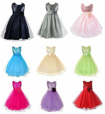 Kids Baby Flower Girls Party Sequins Dress Wedding Bridesmaid Dresses Princess • 12.99£